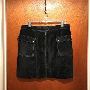 INC Suede Skirt Black w/ White Stitching Size 14